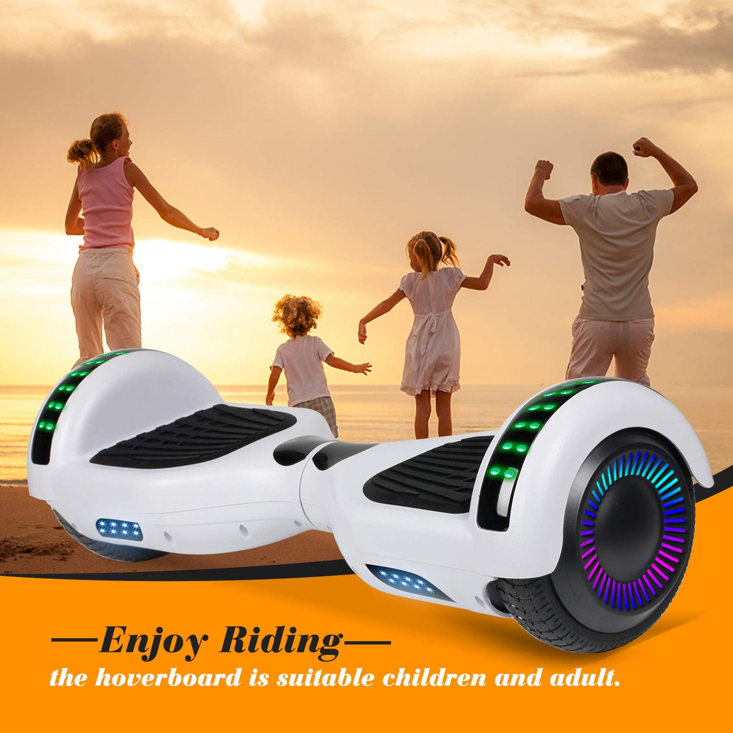 """SWEETBUY Hoverboard UL 2272 Certified 6.5"""" Two-Wheel Bluetooth Self Balancing Electric Scooter with LED Light Flash Lights Wheels White(Free Carry Bag) by SWEETBUY (Image #6)"""