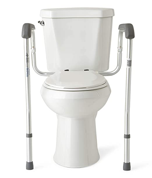 Medline Toilet Safety Rails, Safety Frame for Toilet with Easy Installation, Height Adjustable, Bathroom Safety