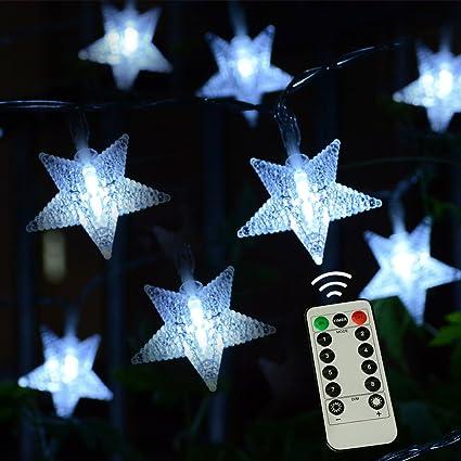 kingleder twinkle star light cool white five pointed led fairy string light w