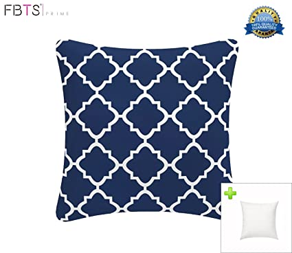 FBTS Prime Outdoor Decorative Pillows With Insert Navy Patio Accent Pillows  Throw Covers 18x18 Inches Square