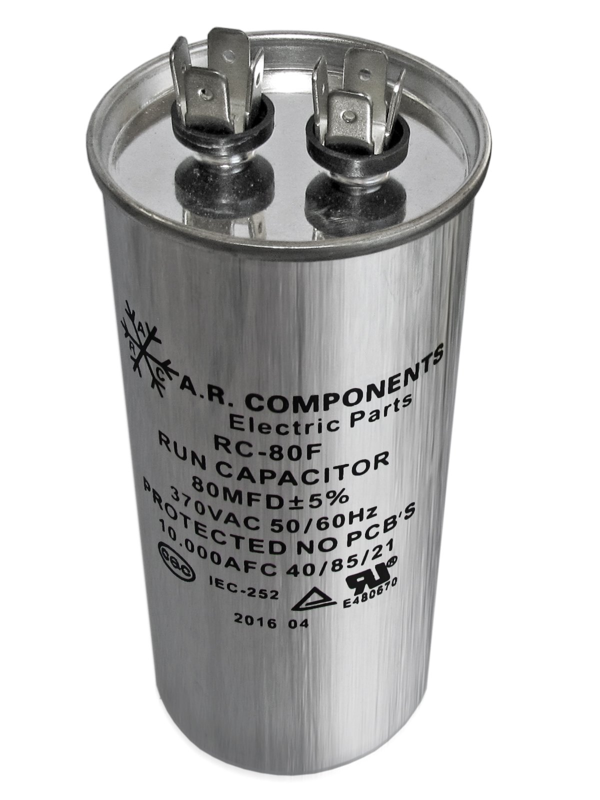 RUN CAPACITOR 80 MFD 370 VAC ROUND CAN. UL Certified. Pack of (1)