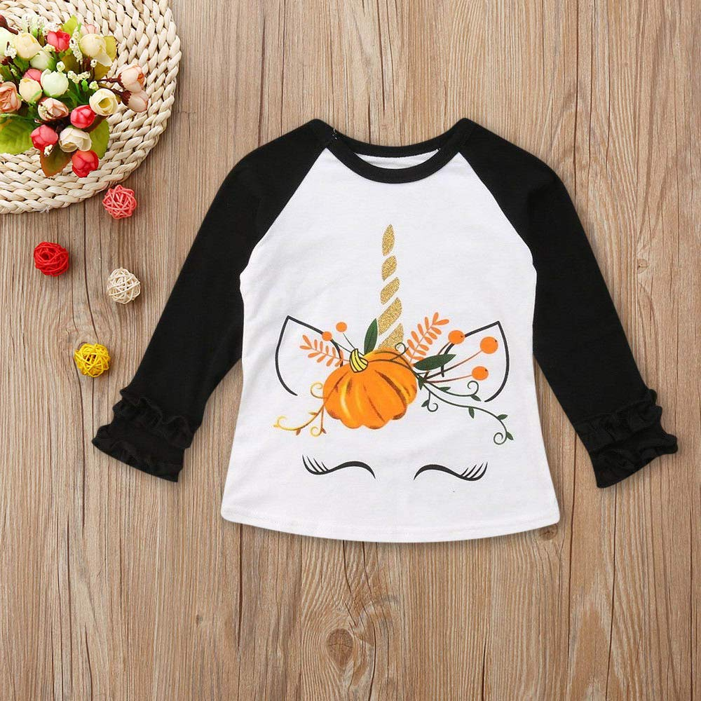 8a75a8160371e Halloween Baby Costume,Kasien Toddler Baby Kids Girls Long Sleeve Animal  Floral Tops T-Shirt...
