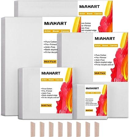 MIAHART 5 set Artista Lienzo en blanco para pintura al óleo acrílica en 5 cuadros de lienzo estirado de varios tamaños (30x35cm /25x30cm /20x25cm / 15x15cm /10x10cm): Amazon.es: Hogar