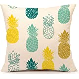 """Pineapples Throw Pillow Cover Summer Beach Decor Cushion Case Decorative for Sofa Couch 18"""" x 18"""" Inch Cotton Linen(Blue Yellow )"""
