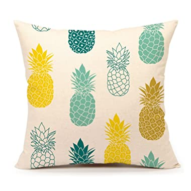 4TH Emotion Pineapples Throw Pillow Cover Summer Beach Decor Cushion Case Decorative for Sofa Couch 18  x 18  Inch Cotton Linen(Blue Yellow)