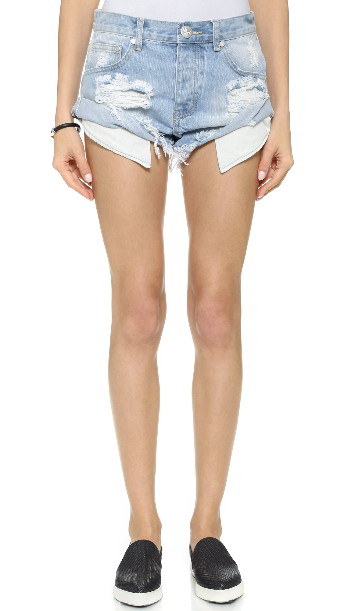 One Teaspoon Women's Wilde Bandits Shorts, Wilde, 27