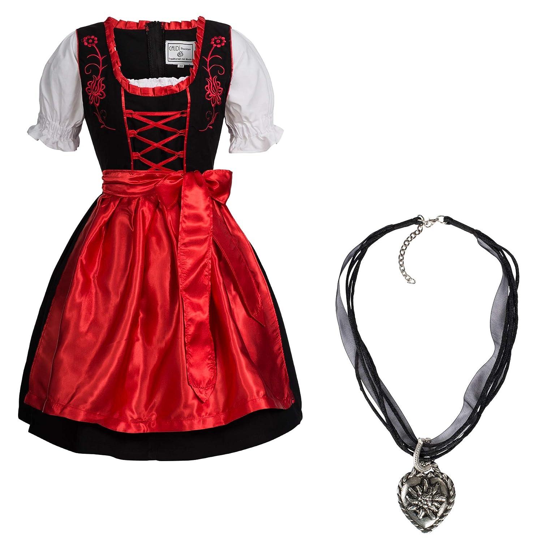 Marke Dirndlkette mit Herz Anh/änger Trachtenkleid schwarz mit roter Stickerei leuchtende Farbe Gaudi-Leathers Dirndl Set 4 TLG