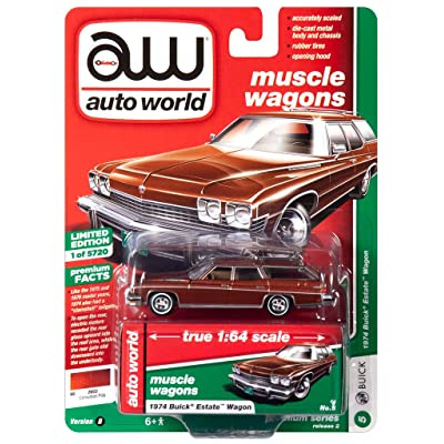1974 Buiсk Estate Wagon Cinnamon Brown Metallic Muscle Wagons Limited Edition to 5,720 Pieces 1/64 Diecast Model Car by Autoworld 64222/ CP7601: Toys & Games