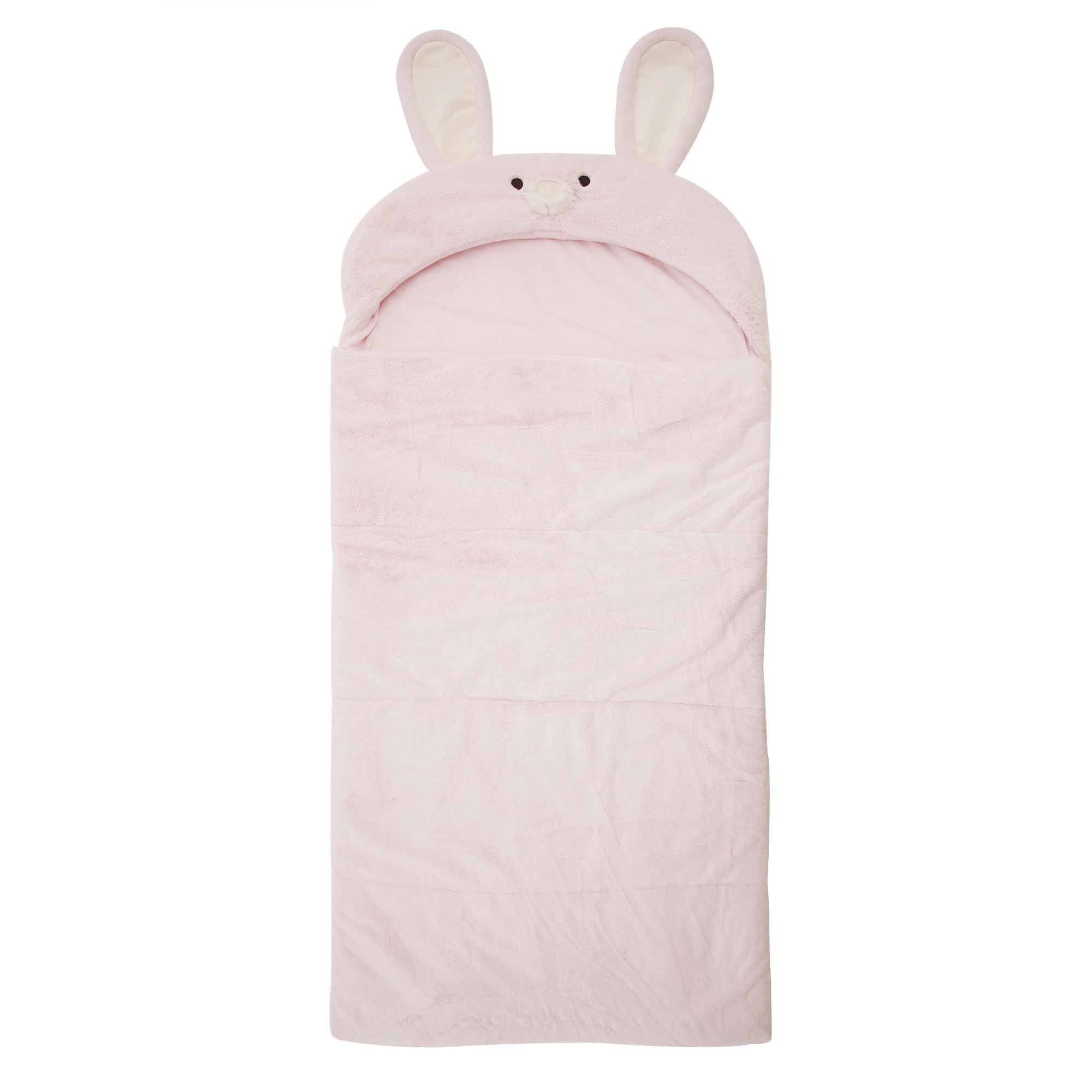 Best Home Fashion Plush Faux Fur Hooded Rabbit Animal Sleeping Bag - Pink - 27'' W x 59'' L - (1 Sleeping Bag)