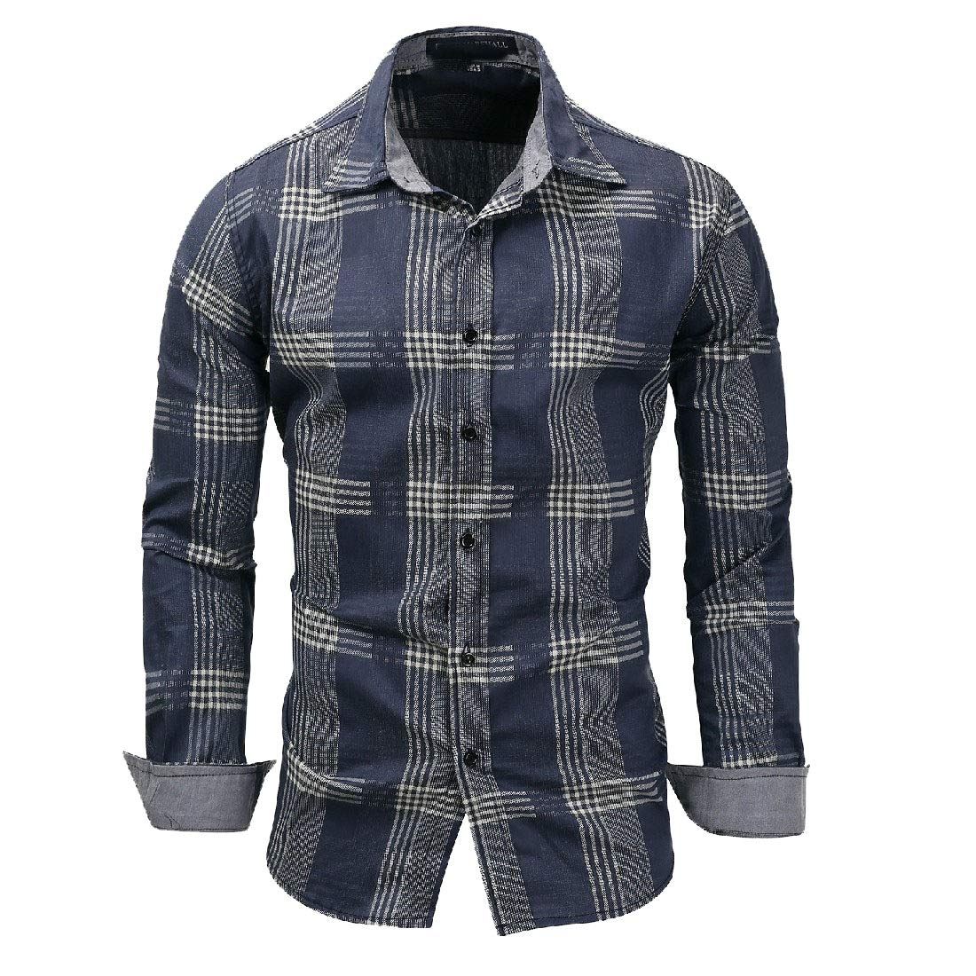 Freely Mens Buttoned Small Plaid Turn-Down Collar Long Sleeve Work Shirt