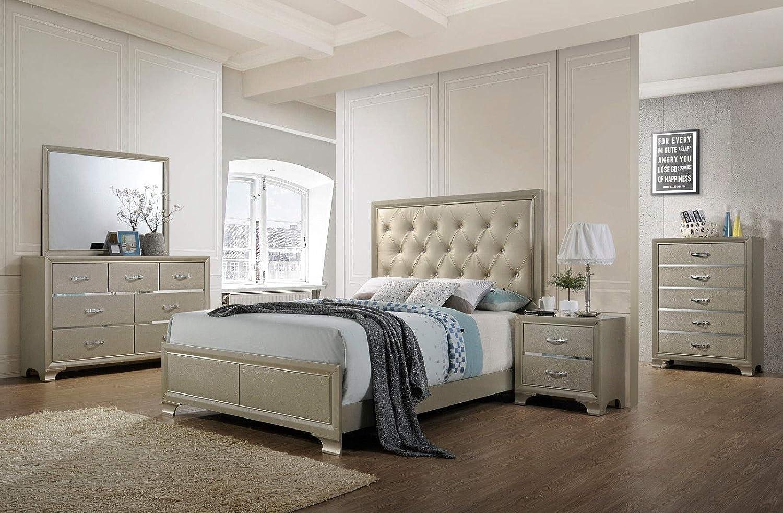Giantex Modern 5 Piece Bedroom Furniture Set Bed Dresser Mirror Chest Night  Stand (King Size 5 Piece Set)