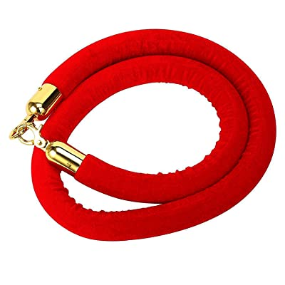 5-Feet Red Barrier Rope Crowd Control Stanchion Queue Line Velvet Rope with Gold Plated Hooks, 60-Inch: Home Improvement