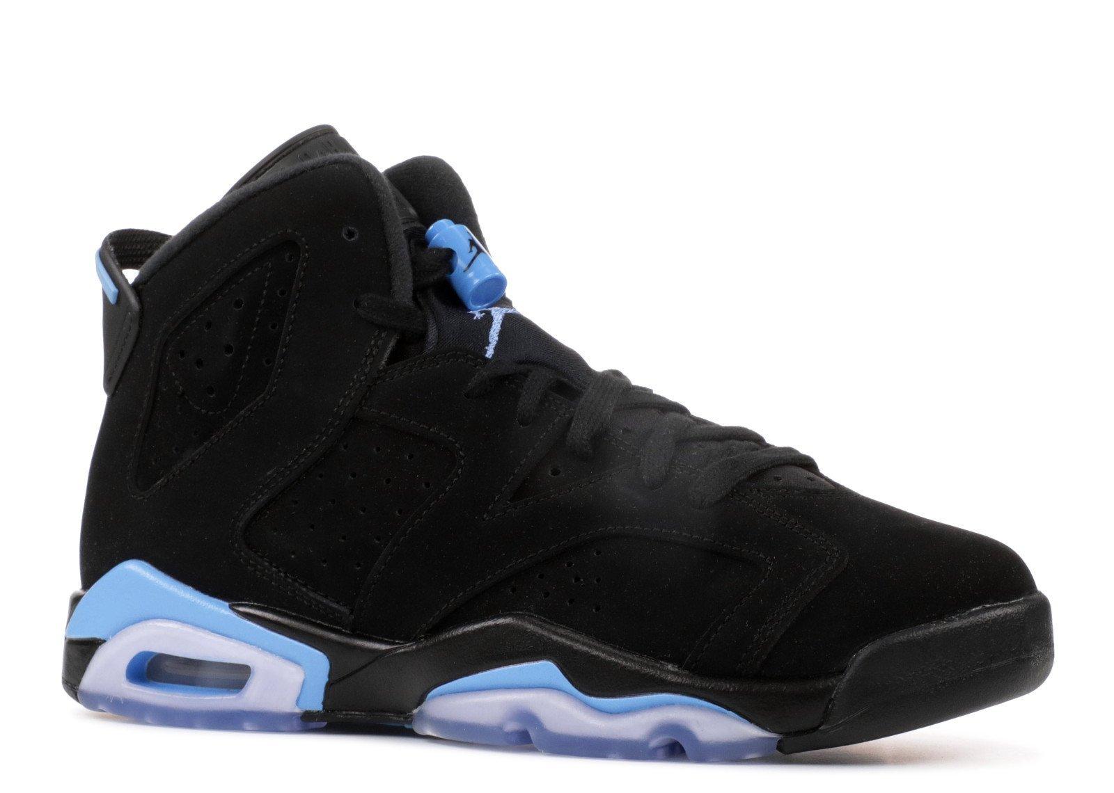 NIKE Air Jordan 6 Retro BG Kids Black/Blue 384665-006 (Size: 7Y)