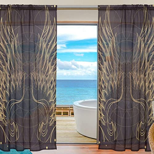 rodde Angel Wing Sheer Window Curtain Panel Drape 55×78 Inch 2 Piece