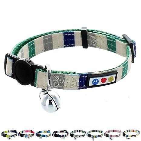 Pawtitas Collar de Gato Hebilla de Seguridad Collar de Gato con Campana Desmontable Collar de Gatito