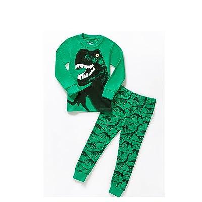 Yong An Little Boys Cartoon Dinosaur Sleepwears Set Pajamas 100% Cotton Clothes