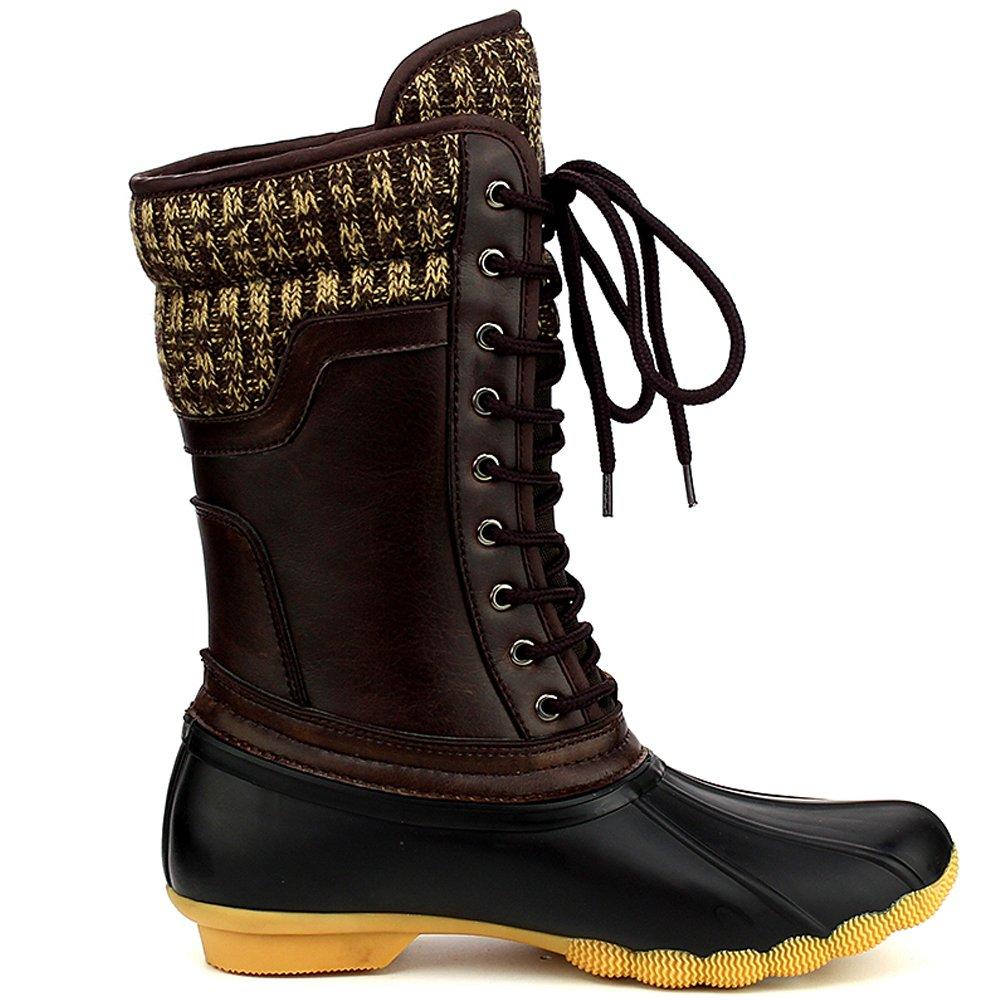 Refresh Hunter Women's Waterproof Rubber Rain Skimmers Duck Boots B01N56U496 11 M US|Black/Brown