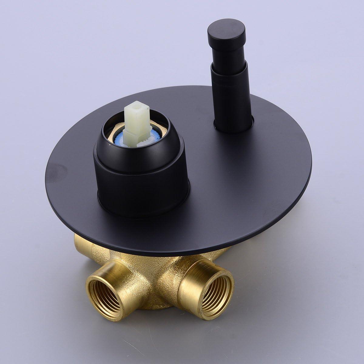 matt schwarz mit verdeckter 2-Wege-Mischbatterie 20,3/cm TRUSTMI Badezimmer rundes Duscharmatur aus Messing