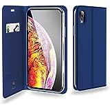 iPhone XR 手帳型ケース スタンド機能付き ワイヤレス充電対応 PUレザー ブルー