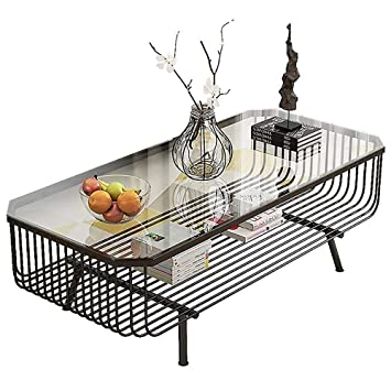 Awe Inspiring Amazon Com Hoiho Modern Tempered Glass Coffee Table 2 Layer Machost Co Dining Chair Design Ideas Machostcouk