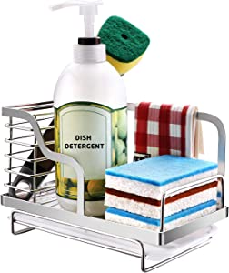 Sponge Holder For Kitchen Sink, Stainless Steel Sink Caddy, Soap Brush Caddy Organizer with Drain Pan