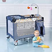Costzon Baby Playard, 3 in 1 Reversible Napper and Changer, Infant Travel Bassinet Bed with Hanging Toys, Music Box, Large Capacity Basket, Carry Bag (Gray)