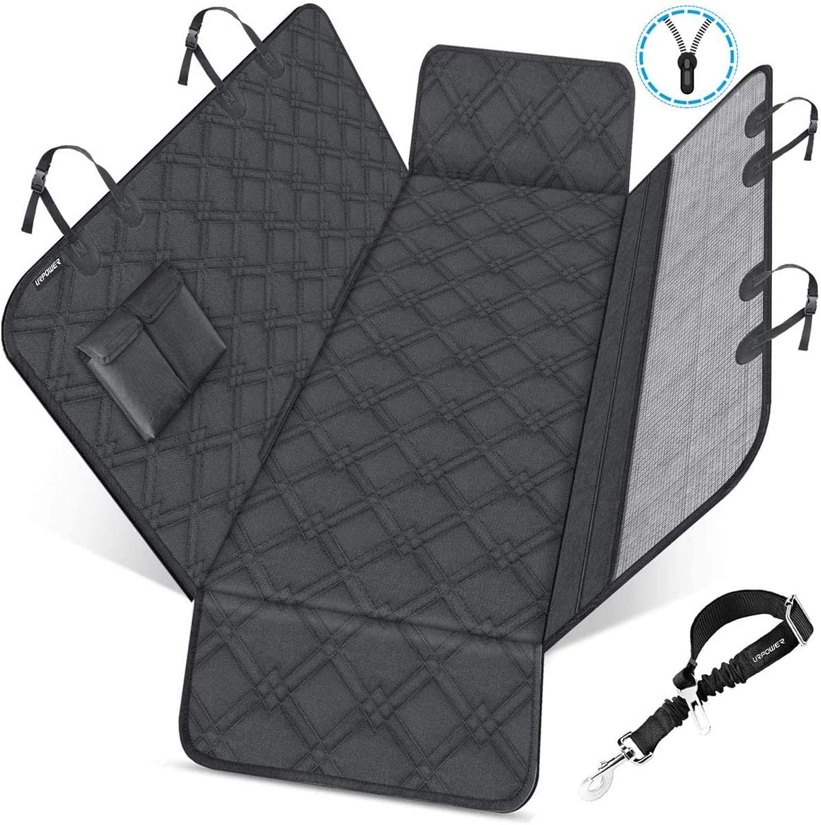 URPOWER Dog Seat Covers with Detachable Mesh Visual Window 100 Waterproof Dog Car Seat Cover Nonslip Pet Bench Seat Cover with Storage Pockets, Washable Dog Hammock for Cars Trucks and SUVs