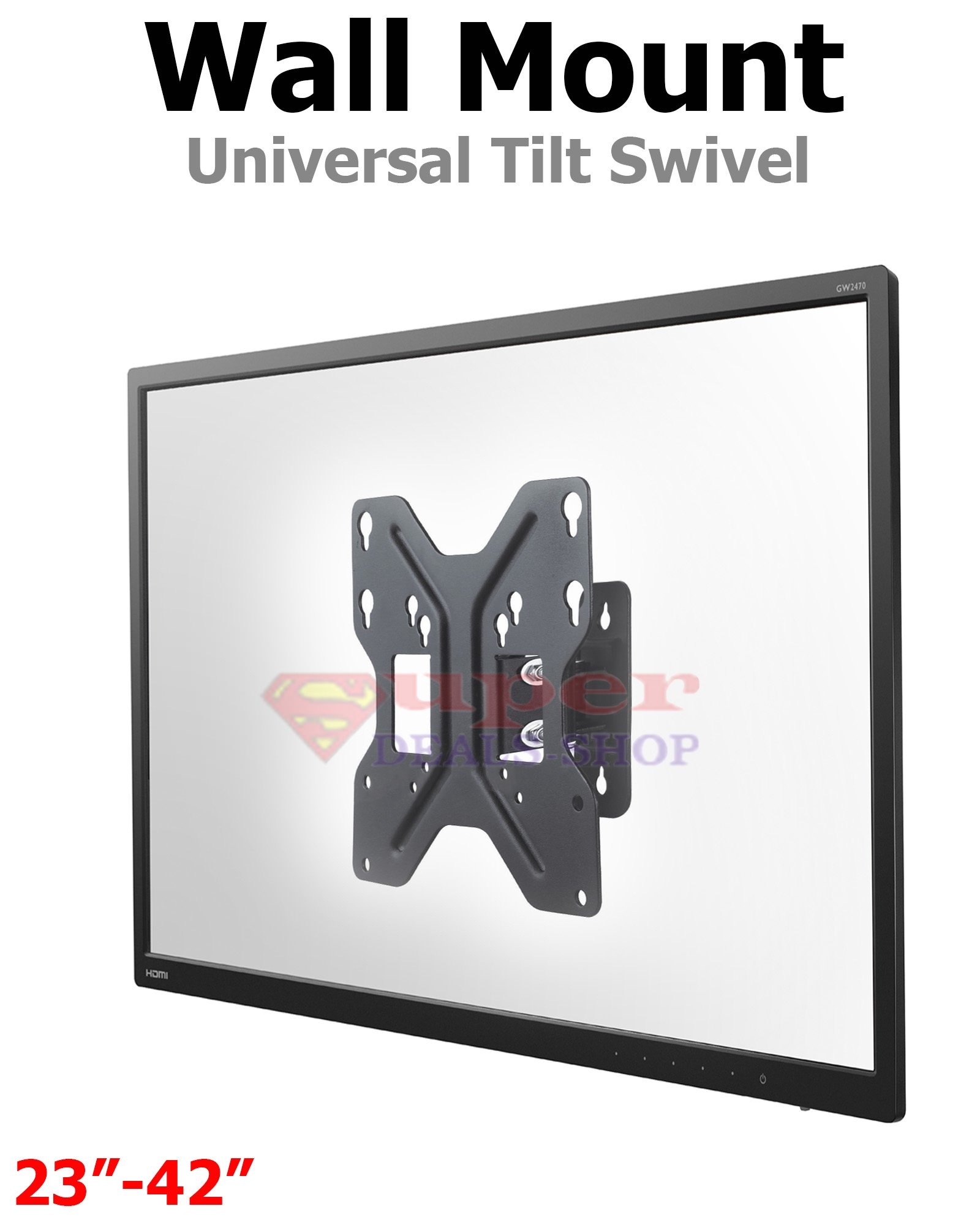 Universal Tilt Swivel TV Wall Mount for most 22'' 24'' 28'' 32'' 39'' 42'' inch Screen LCD OLED 4K VESA: 50x50/75x75/100x100/200x100/200x200 Quick Connect Holes Computer Monitor Steel Super-Deals-Shop