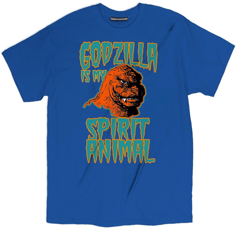 38a61634 Amazon.com: Misky & Stone Godzilla is My Spirit Animal Cool Vintage Retro T  Shirt: Clothing