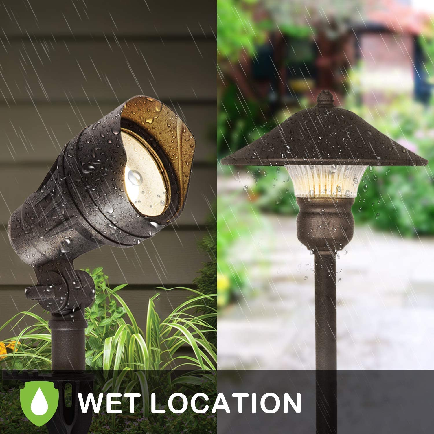 Hykolity 8 Pack Low Voltage Led Landscape Kits 12v Pathway Flood Light Kits 10w 390lm And 3w 150lm Wired For Outdoor Yard Lawn Die Cast Aluminum 50w And 30w Equivalent 15 Year Lifespan Tools
