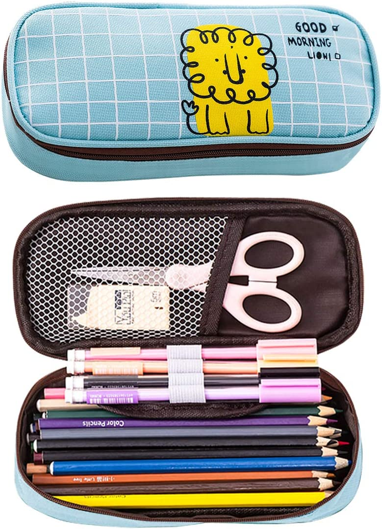Pencil Case Big Capacity Storage Oxford Cloth Bag Holder Desk Pen Pencil Marker Stationery Organizer Pencil Pouch with Zipper for School Office (Blue)