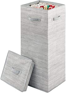 mDesign Soft Fabric Stripe Wrapping Paper Storage Box with Lid - Side Handles, Removable Lid, Stores Long Rolls of Gift Wrap - Taupe/Tan