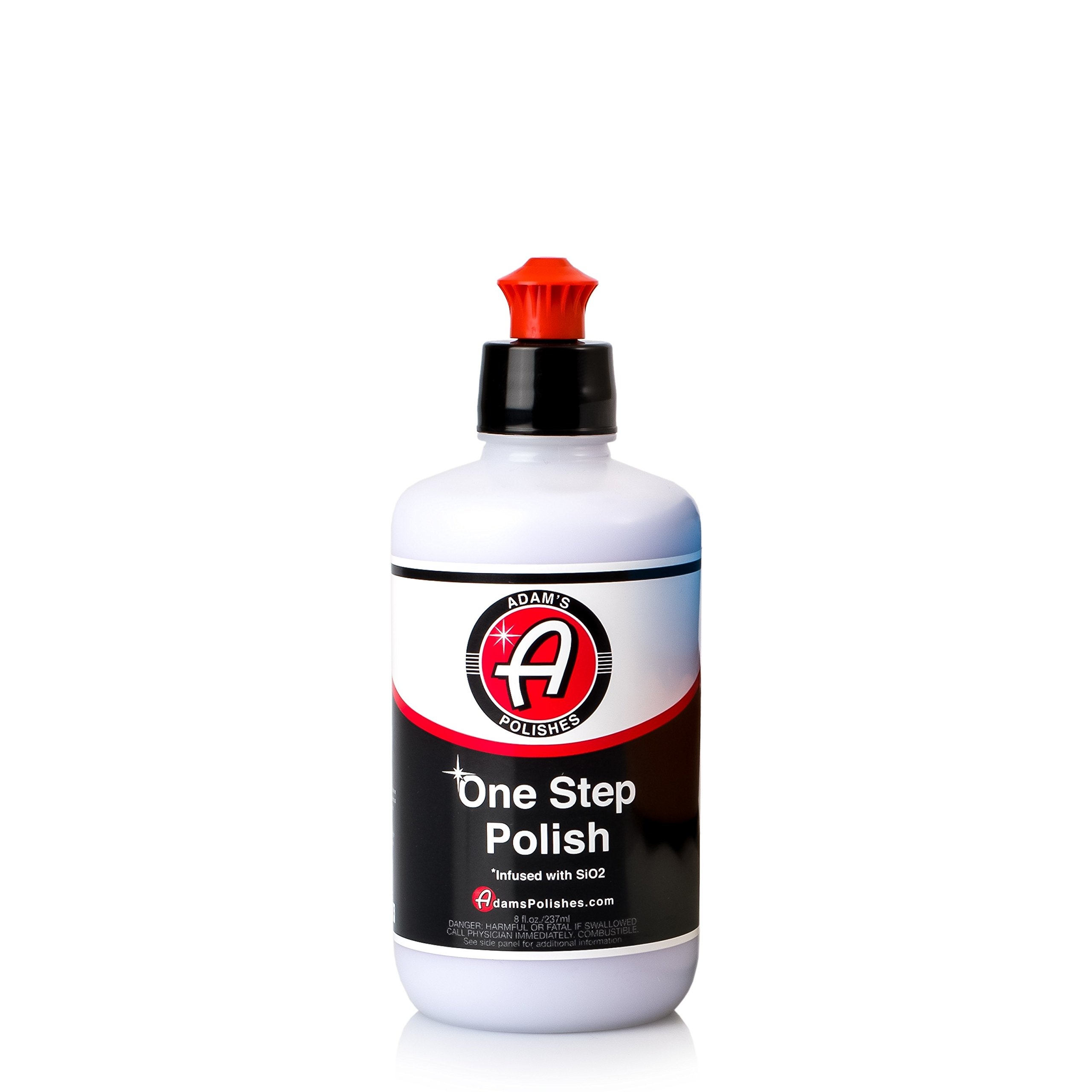 Adam's One Step Polish 8oz - Safe for Clear Coat, Single Stage, or Lacquer Paint - Infused with SiO2 Silica to Add Protection While Polishing - Easy Application and Removal, Excellent Shine