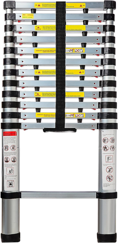 OxGord Aluminum Telescopic Extension Ladder (12.5 Ft Telescope) - EN131 Certified - Extendable Telescoping Extendable with Spring Load Locking Mechanism Non-Slip - 250 lb Max Capacity