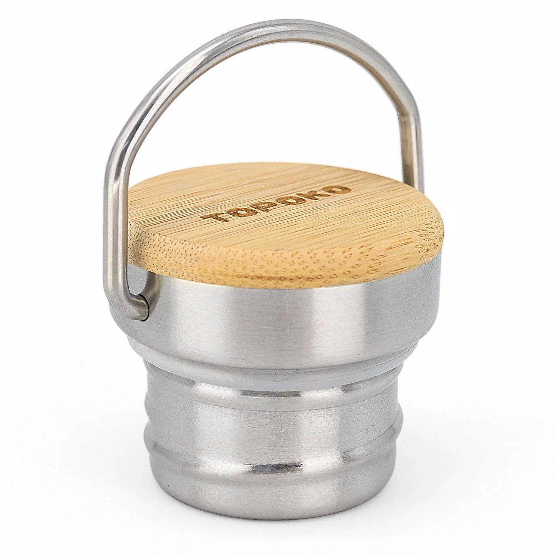 topoko tapa de de de repuesto para hydro Flask bambú tapa de repuesto para hydro Flask Botella de agua vacío termo de doble pared botella de agua, estándar de acero inoxidable boca tapa de metal (bambú) 171ead