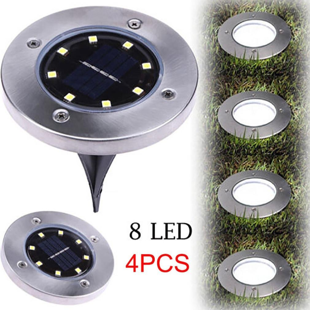 Solar Underground Light,Rambling 4Pcs 8LED Power Buried Light Under Ground Lamp Waterproof Outdoor Path Way Garden Decking Auto On Off Switch Cool White