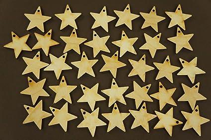 30x Wooden Small 2cm Stars Shape Star Blank Room Hanging Craft Decoration