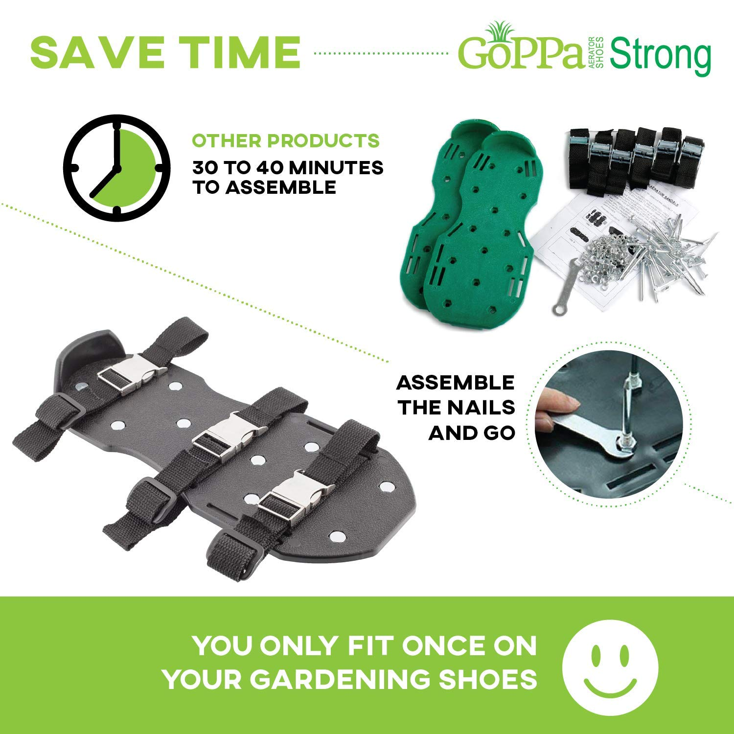 GoPPa Lawn Aerator Shoes – Heavy Duty Lawn Aerator Sandal, You only FIT Once. Ready for aerating Your Yard, Lawn, Roots & Grass – Strong Design by GoPPa (Image #5)