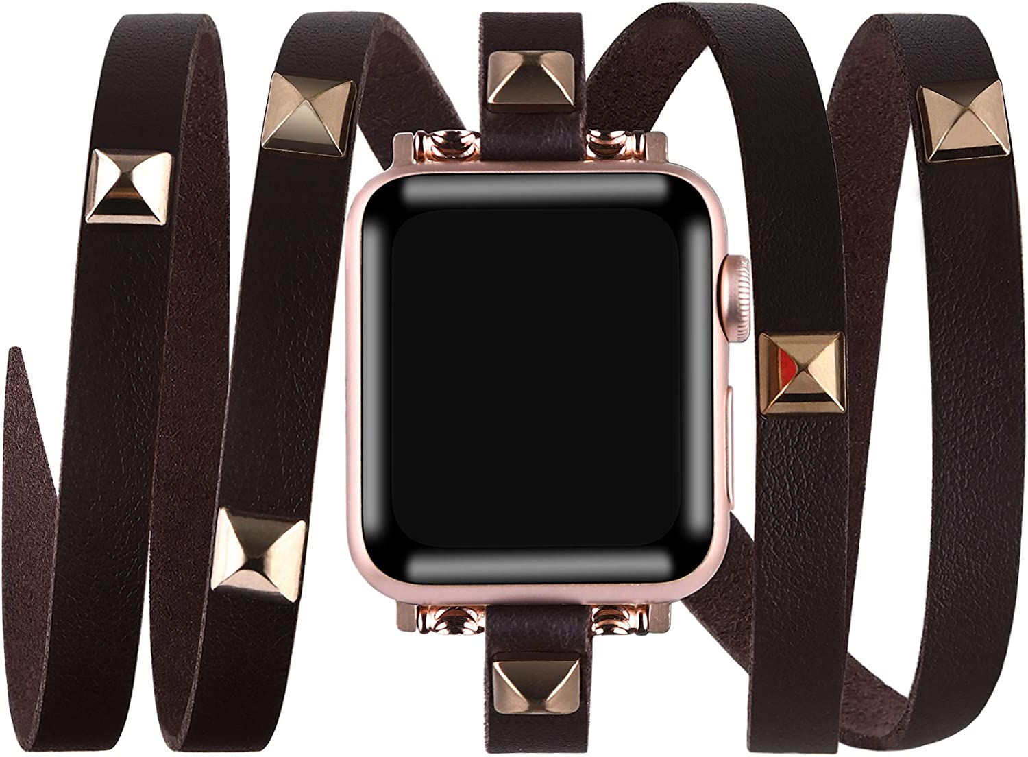 VIQIV Multi-layer Wrap Around Bracelet Compatible with Apple Watch Bands 38mm 40mm 42mm 44mm iWatch Series SE 6/5/4/3/2/1 for Women Mens, Bling Studs Cuff Bracelet Jewelry Wristband Strap Accessories