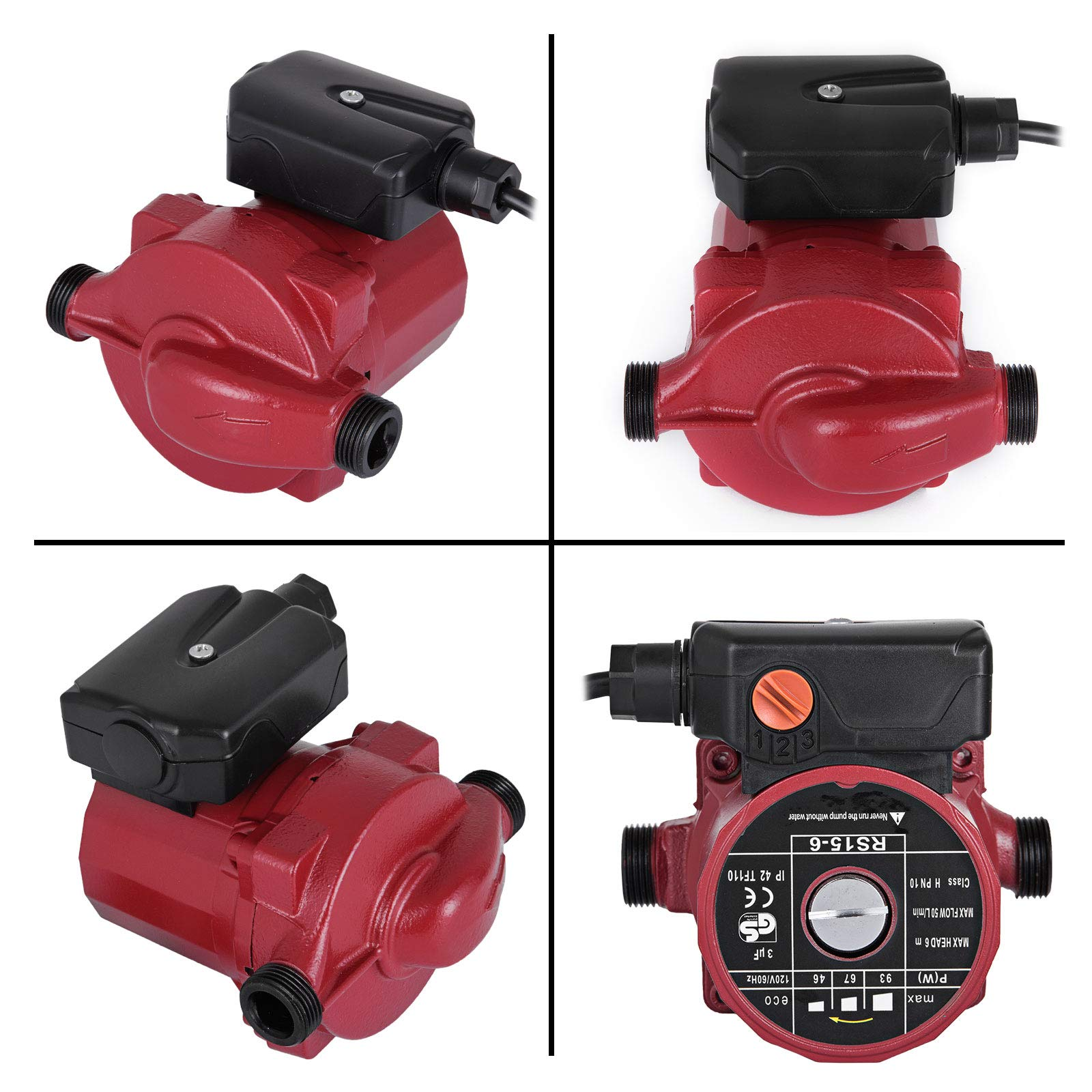 Happybuy RS15-6 Hot Water Recirculating Pump 110V Circulation Pump 0.75 inches NPT 3-speed Recirculation Pump 9.5 Gpm for Water Heater System by Happybuy (Image #9)