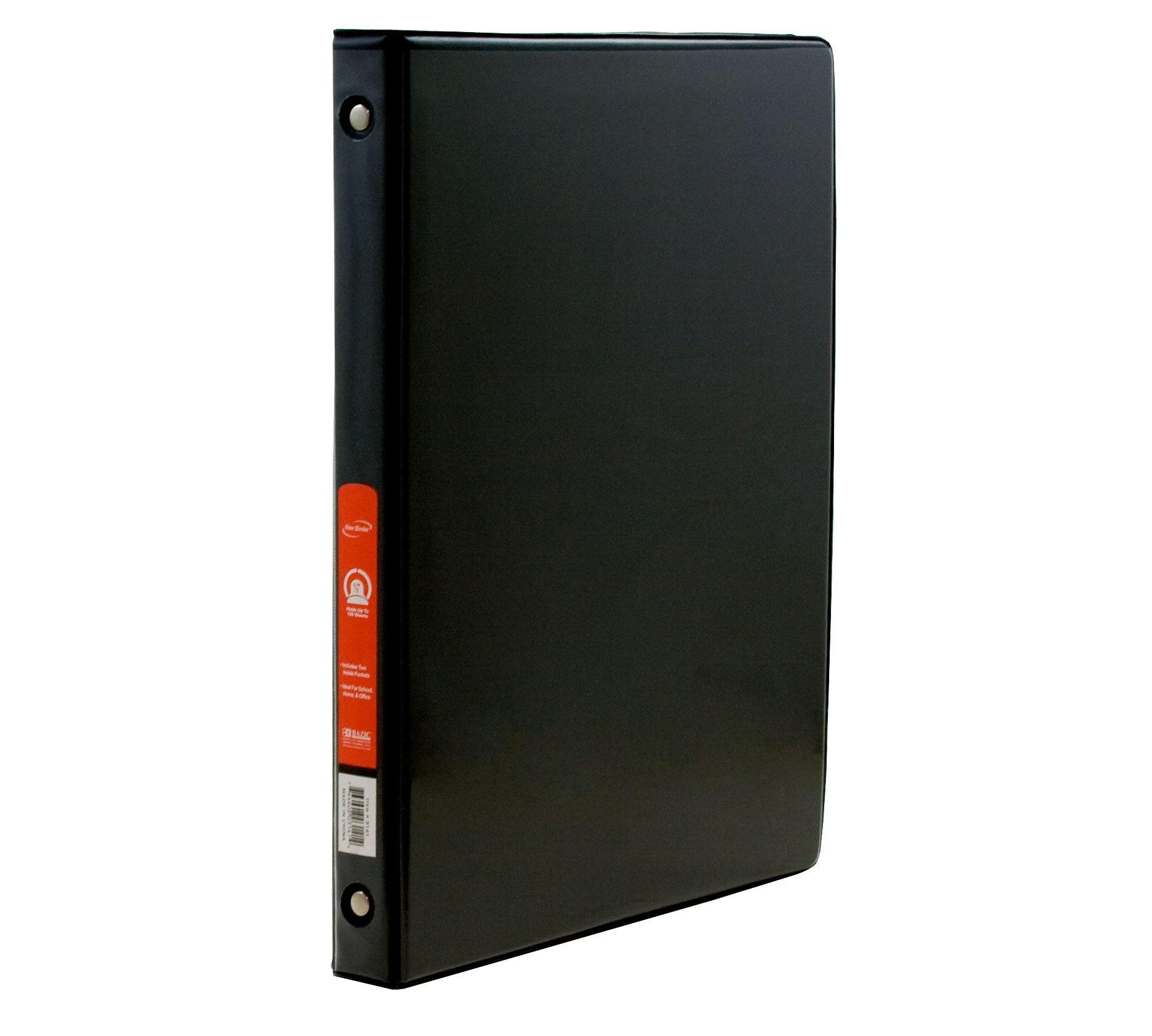 BAZIC 1/2'' Black 3-Ring Binder w/ 2-Pockets, Case Pack 48