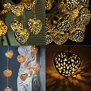 20x metal moroccan warm white led heart fairy string lights battery 20x metal moroccan warm white led heart fairy string lights battery operated indooroutdoor mozeypictures Gallery