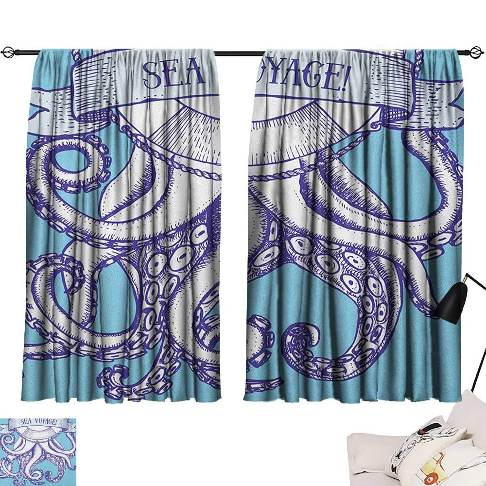 Pattern14 W72  x L63  Beihai1Sun Octopus Night Darkening Curtains Ocean Adventure Themed Pattern with Various Elements in Cartoon Style for Kids Curtain for Living Room Multicolor W63 x L45