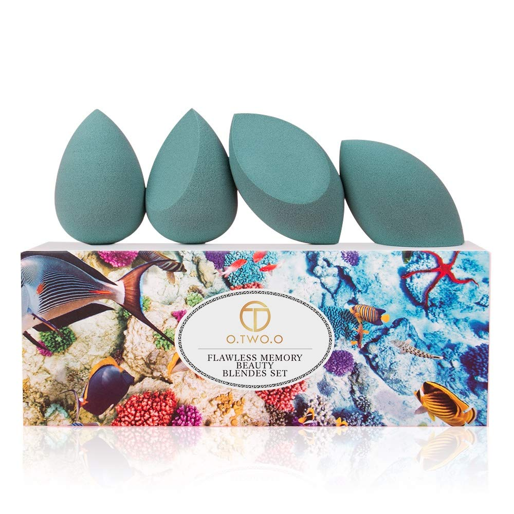 FRIDASS - Makeup Sponge Beauty Blender, Foundation Sponge, 4 pcs in one Pack, Blend, concealer liquid Blush, Powder, Cream. Face Sponges, Professional Blenders, Extra Blending Way (Dark Green)