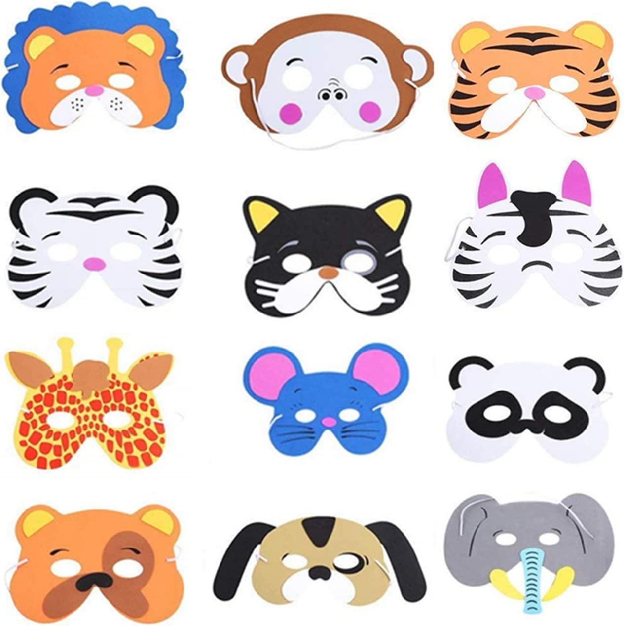 Kinder Schaum Tiere Masken 12 Stück Schaum Masken Dschungel Tier Masken Tiermasken Kinder Für Jungen Mädchen Geburtstag Halloween Christmas Party Supplies Baumarkt