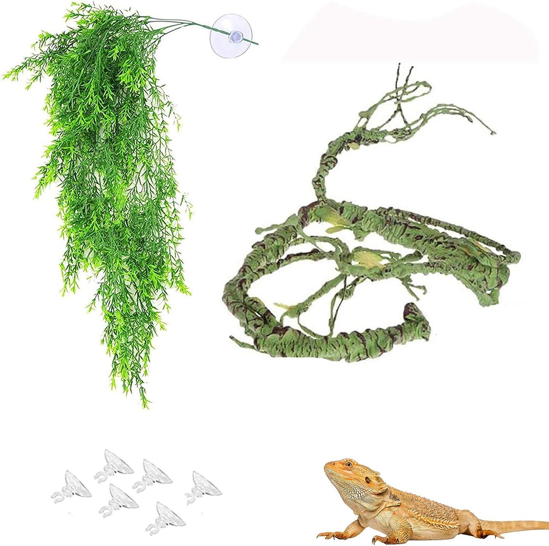 Lizard Flexible Bend-A-Branch Jungle Reptile Vines Leaves Hide Chameleon Cage Habitat Decor Plants Terrarium Tank Accessories for Pet Frogs Snakes Bearded Dragon Climbing