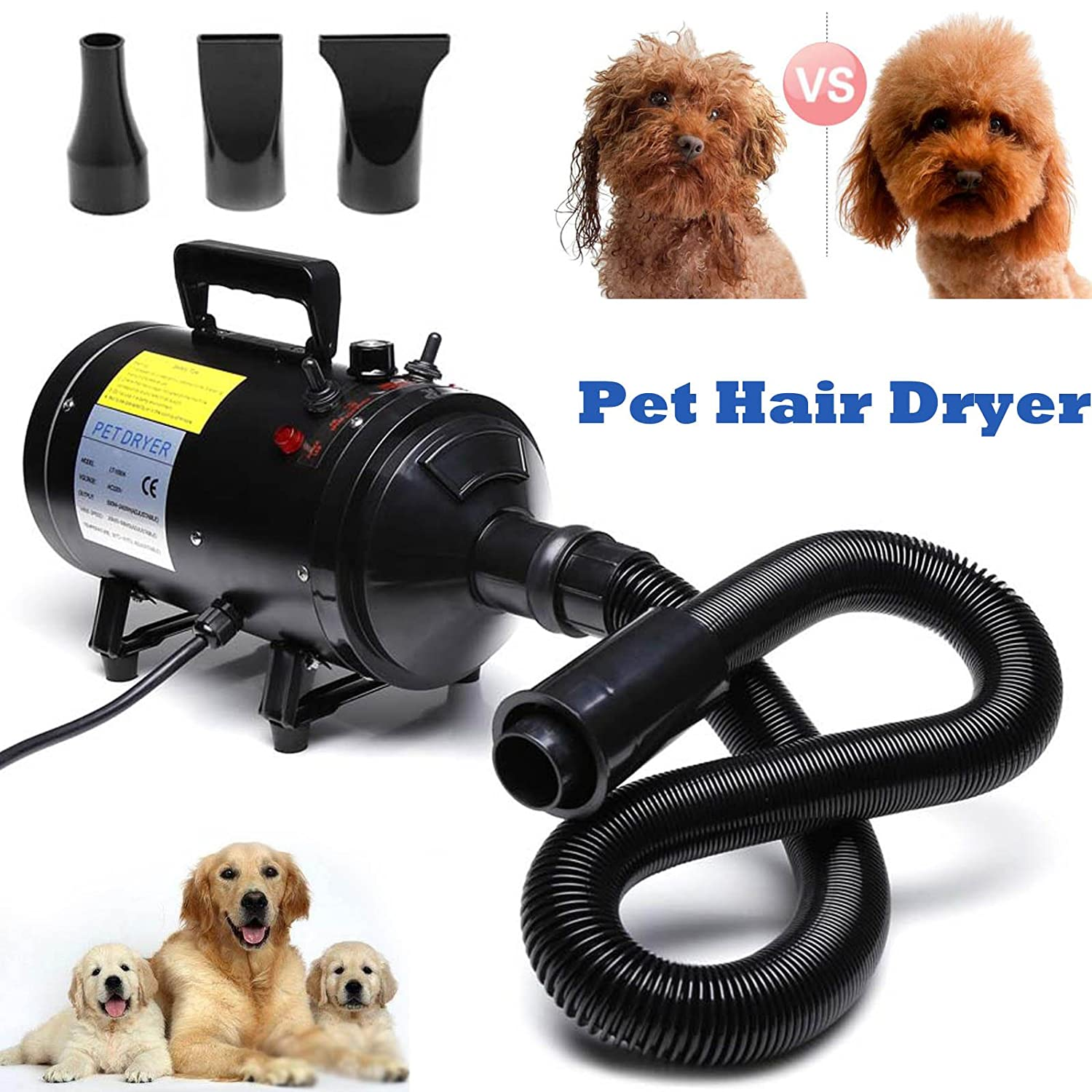Autofather Pet Dog Cat Hair Dryer Adjustable Heat Temperature Grooming Stepless Speed Professional Hairdryer with 3 Different Nozzles, 2 Year Warranty