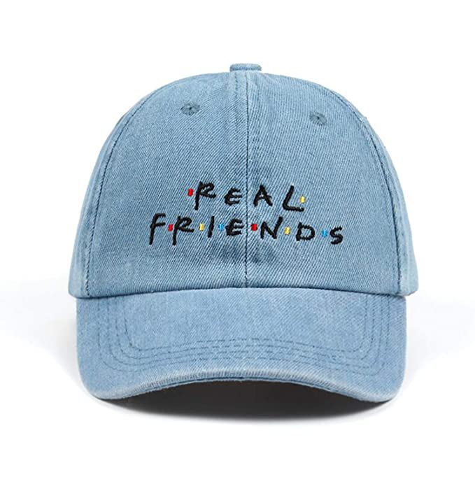 b50b9ef0cef Washed Denim Real Friends Hat Trending Rare Baseball Cap I Feel Like Pablo Dad  Hat Cap Hip Hop Men Women at Amazon Women s Clothing store
