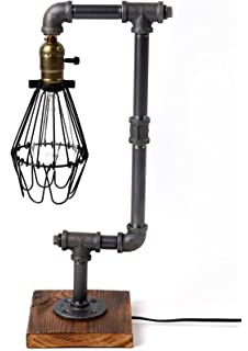 Bird Cage Designer Steampunk Water Piping Desk Top Table Lamp Real Wood Base Rustic Home Deco