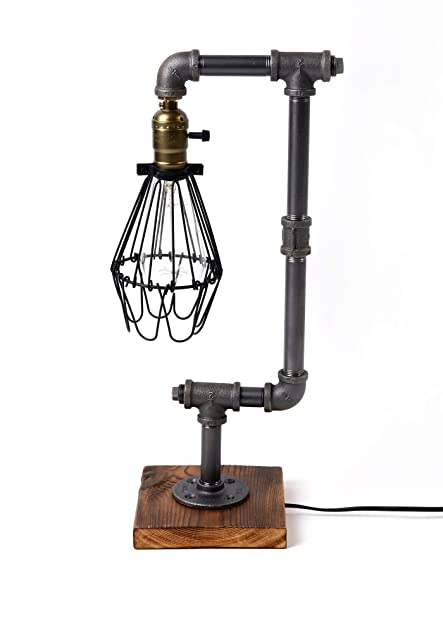 Bird Cage Designer Steampunk Water Piping Desk Top Table Lamp Real ...